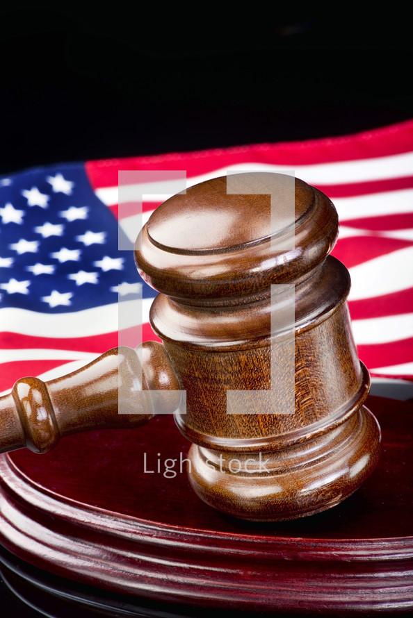 gavel and American flag