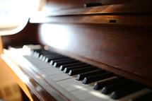 sunlight on piano keys
