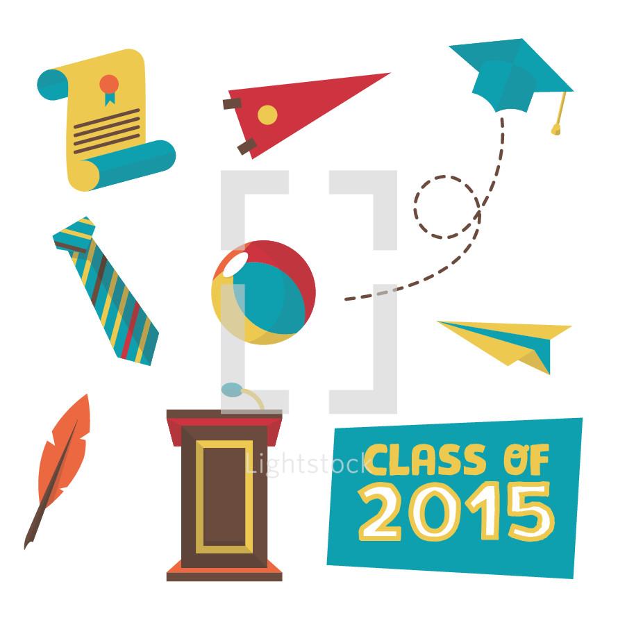 graduation icon set 2015