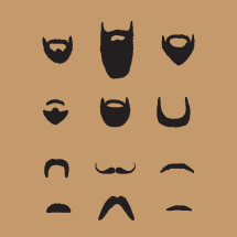 pack of hand drawn beards and mustaches.