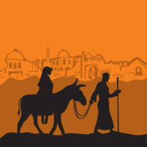 Mary on a donkey and Joseph