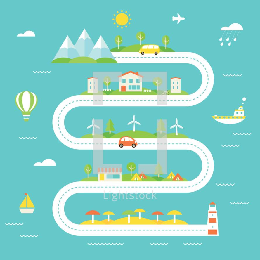 travel, new road, road, ocean, lighthouse, sea, sailboat, trip, road trip, beach, mountains, windmills, boat, hot air balloon, car, houses, town