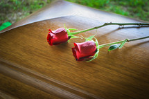 Two long-stem roses laying on a wooden casket.
