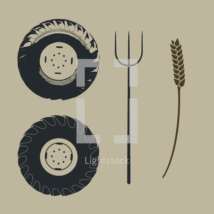 tractor wheels, pitch fork, wheat stalk, farm, illustration