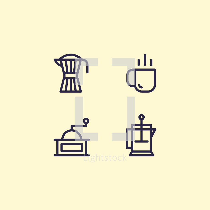 coffee pot and grinder icons