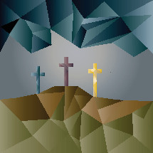 Three crosses on a hill, signifying Jesus' life, death and resurrection.