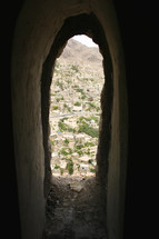 tunnel view of a city in Yemen