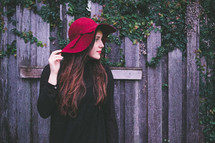 red hat on a woman's head