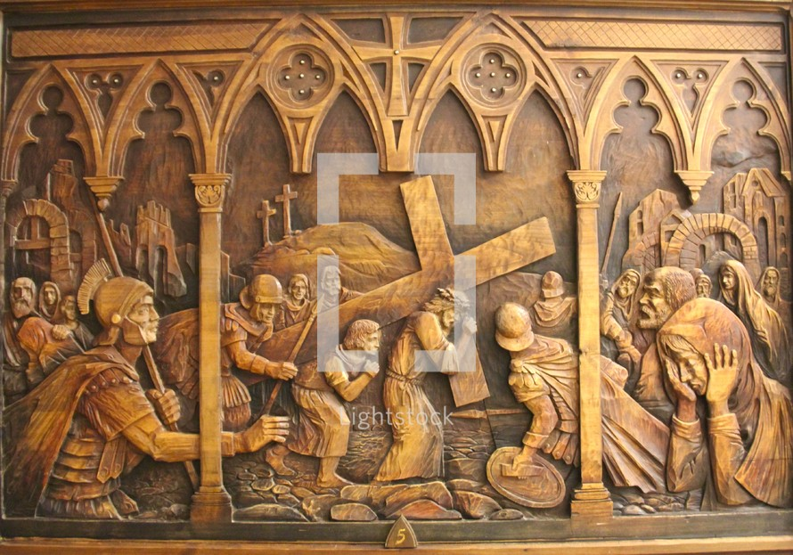 wooden carving, stations of the cross 5, Simon of Cyrene helps carry the cross