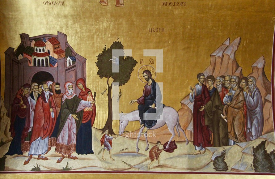 Painting of Jesus riding on a donkey, entering Jerusalem. Podgorica Orthodox Cathedral, Montenegro.