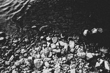 rocks and pebbles in a stream bed