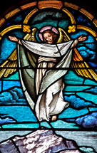 Stained glass window of an angel