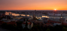 Sunrise over the city of Budapest, Hungary and the river Danube, with the Parliament buildings and Margret Bridge (Margit Hid)