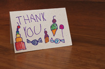 hand drawn child's thank you card