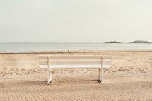 park bench on a beach