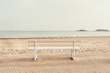 park bench on a beach