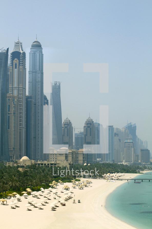 Dubai shoreline and skyscrapers
