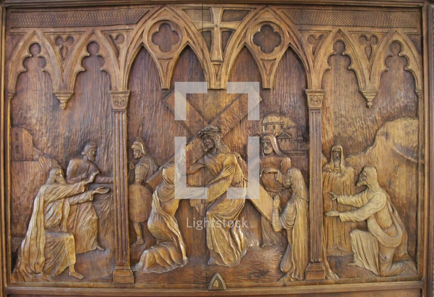 wooden carving, - stations of the cross 4, Jesus meets his mother