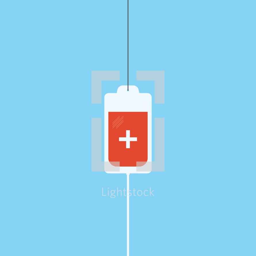 hanging blood bag illustration.