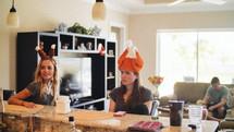 women wearing turkey hats