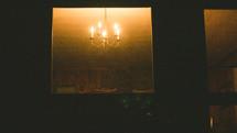 glowing bulbs on a chandelier