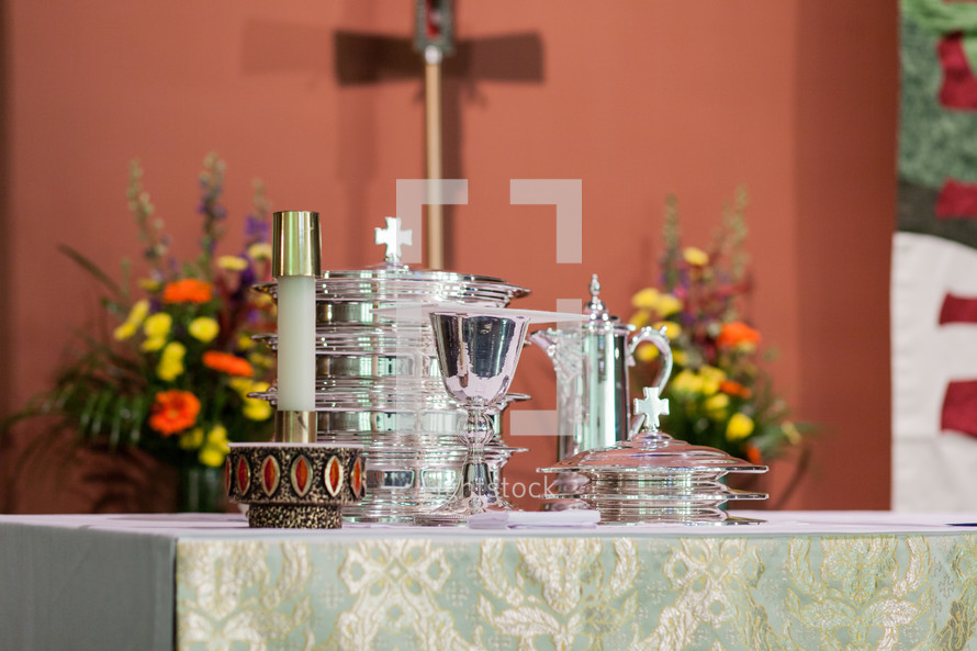 communion elements on an altar