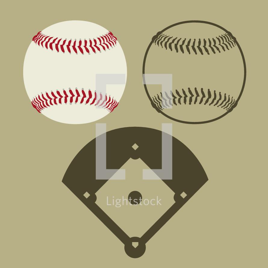 baseball and baseball diamond