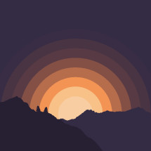 Sunrise behind a mountain