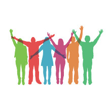 colorful silhouettes of people praising.