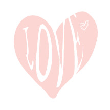word love in a pink heart