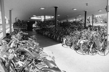 bicycles in a parking garage in the Netherlands