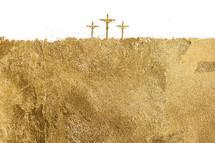 three crosses gold foil