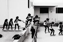 time-lapse skateboarding collage