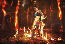a woman consumed in flames