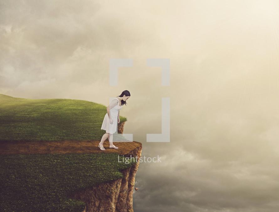 woman walking in the edge
