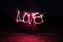 word Love in lights