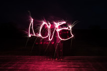 word Love in lights