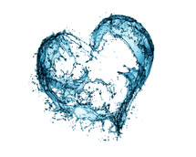 Water splashes into the shape of a heart on a white background.