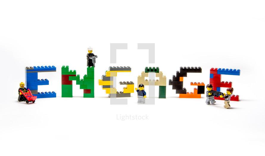 Engage, legos, building blocks, word, labor