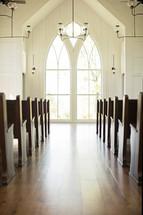 Light shining through a window at church.