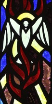 dove and flame stained glass window