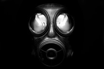 gas mask in the dark, emerging into the daylight