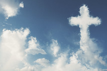 A cross made out of clouds in the sky