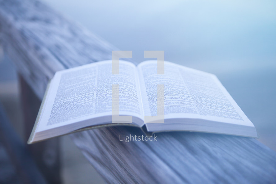 Bible on Beach with Copy Space