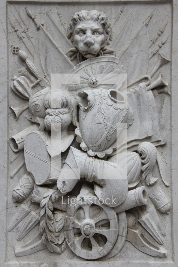 Lion head crest emblem