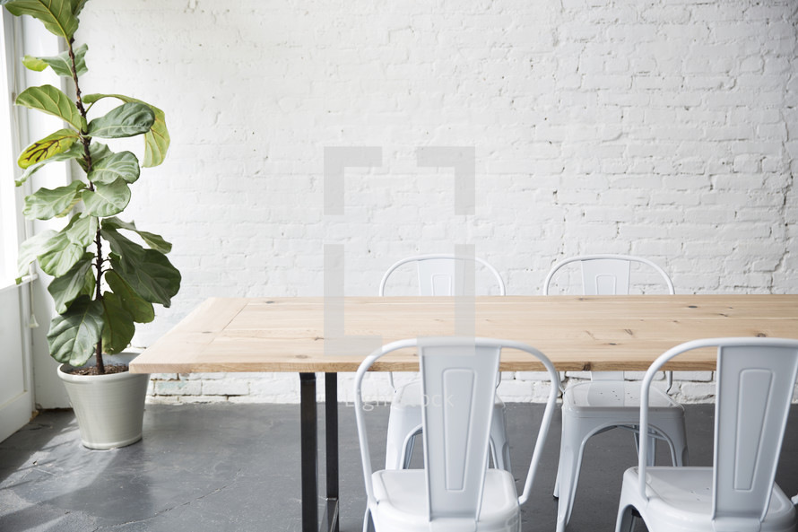 a cleared table