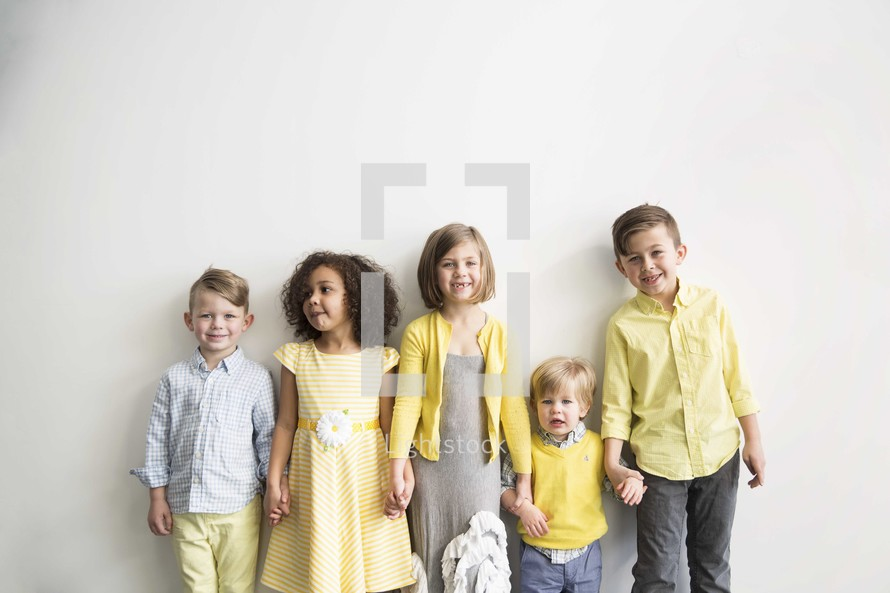 row of children in church clothes