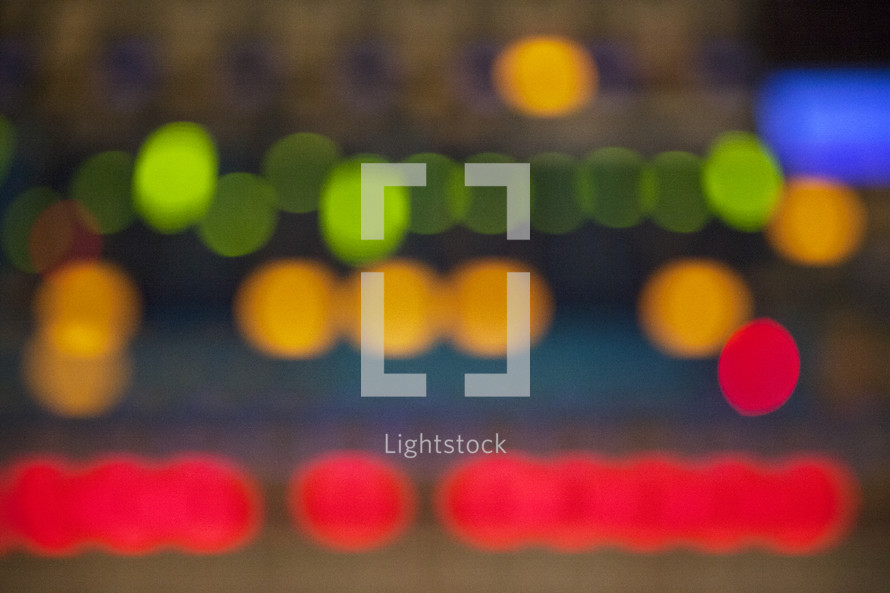 bokeh lights on a soundboard
