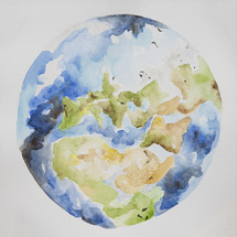 watercolor Earth illustration.