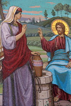 Jesus with the woman at the well